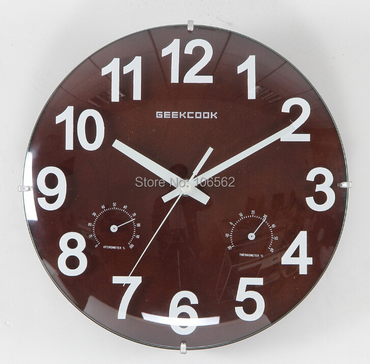 Frameless 10 inch wall clock 12 hours wooden wall clock Convex glass With temperature and humidity function wall clocks(China (Mainland))
