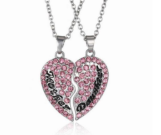 New design Mother and Daughter Best Friend Pendant Necklace Charm broken Heart pink Rhinestone Jewelry + Gift + Free Shipping(China (Mainland))