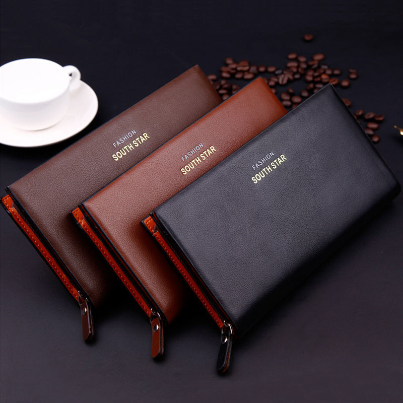 Genuine zipper wallet long section of European and American men's fashion leather strap clutch bag large capacity mobile phone(China (Mainland))