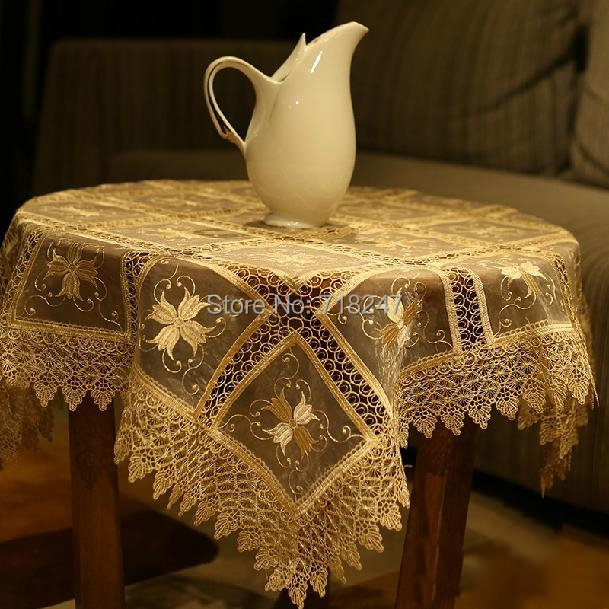 Hot Sale 85*85cm Elegant Polyester Embroidered Organza Lace Tablecloth Topper New Embroidery Table Cloth Towel Covers 032(China (Mainland))