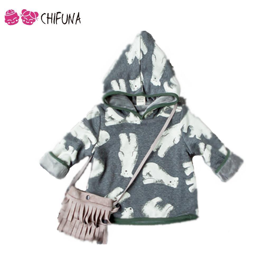 2016 New Baby Boys Clothes Kids Hoodies Cute Cartoon Polar Bear Pattern Print Pullover Warm Boys