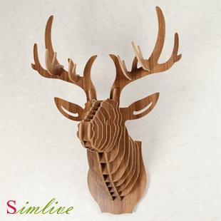 Deer head,home decoration,wall art diy wooden craft wall decor wall stickers home decor,christmas decoration,wood Animal(China (Mainland))