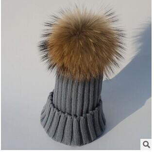 Дети мальчик девочка естественно реального мех енота животных пом зима теплая крючком вязать шапки шапки
