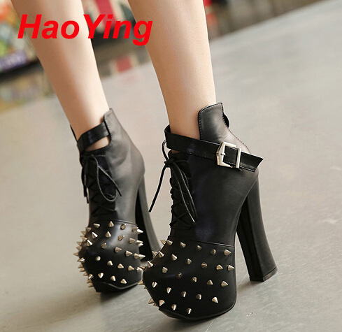 platform boots lace up platform pumps fashion ankle boots for women shoes chunky high heels boots rivets spikes fur boots D295