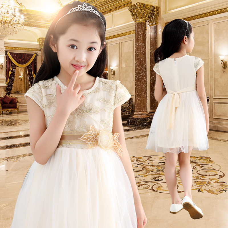 2016 Formal Sleeveless Solid 3d Embroidery Girls Lace Dress O-neck Summer Princess Dresses Temperament Kids Girl Party Clothes(China (Mainland))