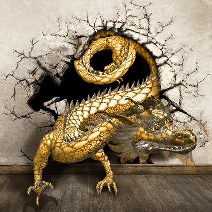 Popular dragons wallpaper buy cheap dragons wallpaper lots for Dragon mural for wall