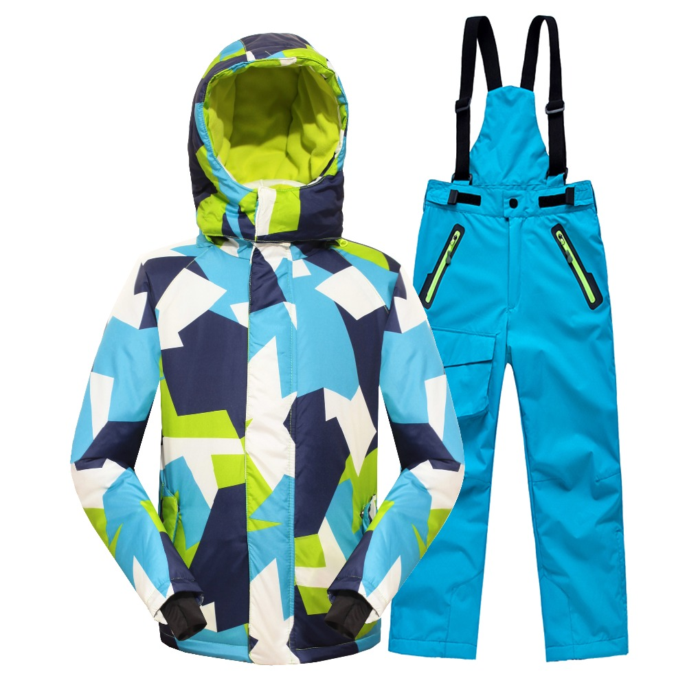 Minus 25 Degrees Children Outerwear Warm Coat Sporty Ski Suit Kids Clothes Set Waterproof Windproof Boys Girls Jackets For 5-14T(China (Mainland))