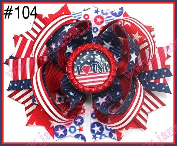 free shipping 30pcs Newest 4th of july hair bows Girl boutique hair bows Patriotic Bows fourth of july hair bows