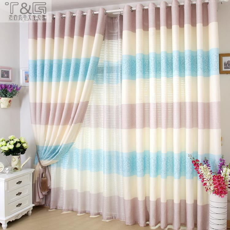 Free Shipping - bedroom classic stripe curtain window screening finished product home decoration sheer tulle curtain panel(China (Mainland))