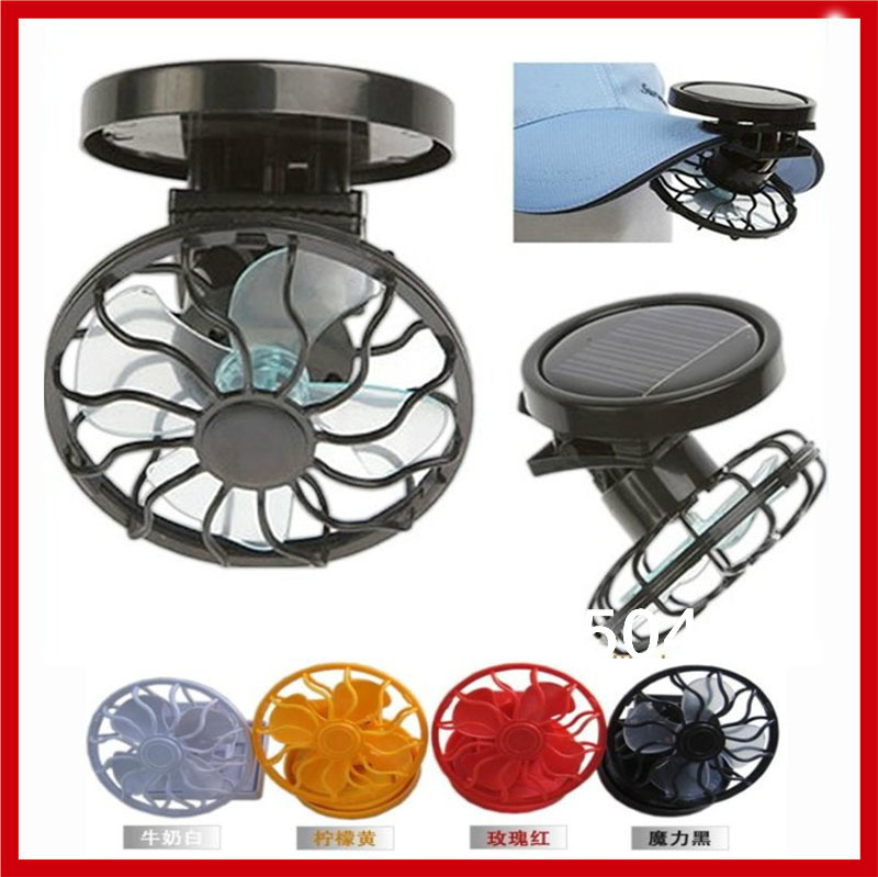 New 2pcs/lot Portable Mini Solar Powered Energy Clip on Cap Hat Cooling Fan for Outdoor Fishing Golf Baseball(China (Mainland))