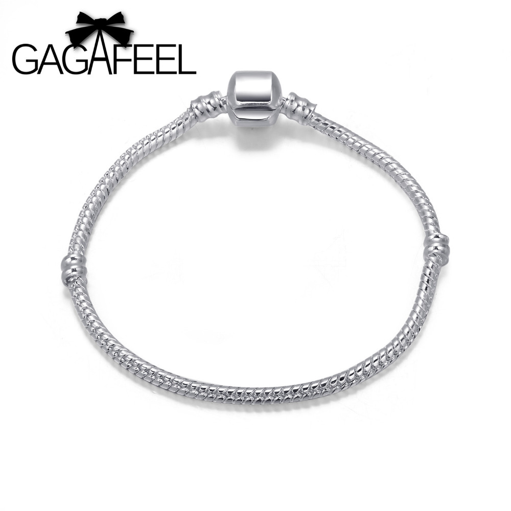 16-23cm Length Fashion Women Jewelry European Silver Bracelets Bangles Snake Chain Glass Beads Charms PAC001 - gagafeel Trendy Store store