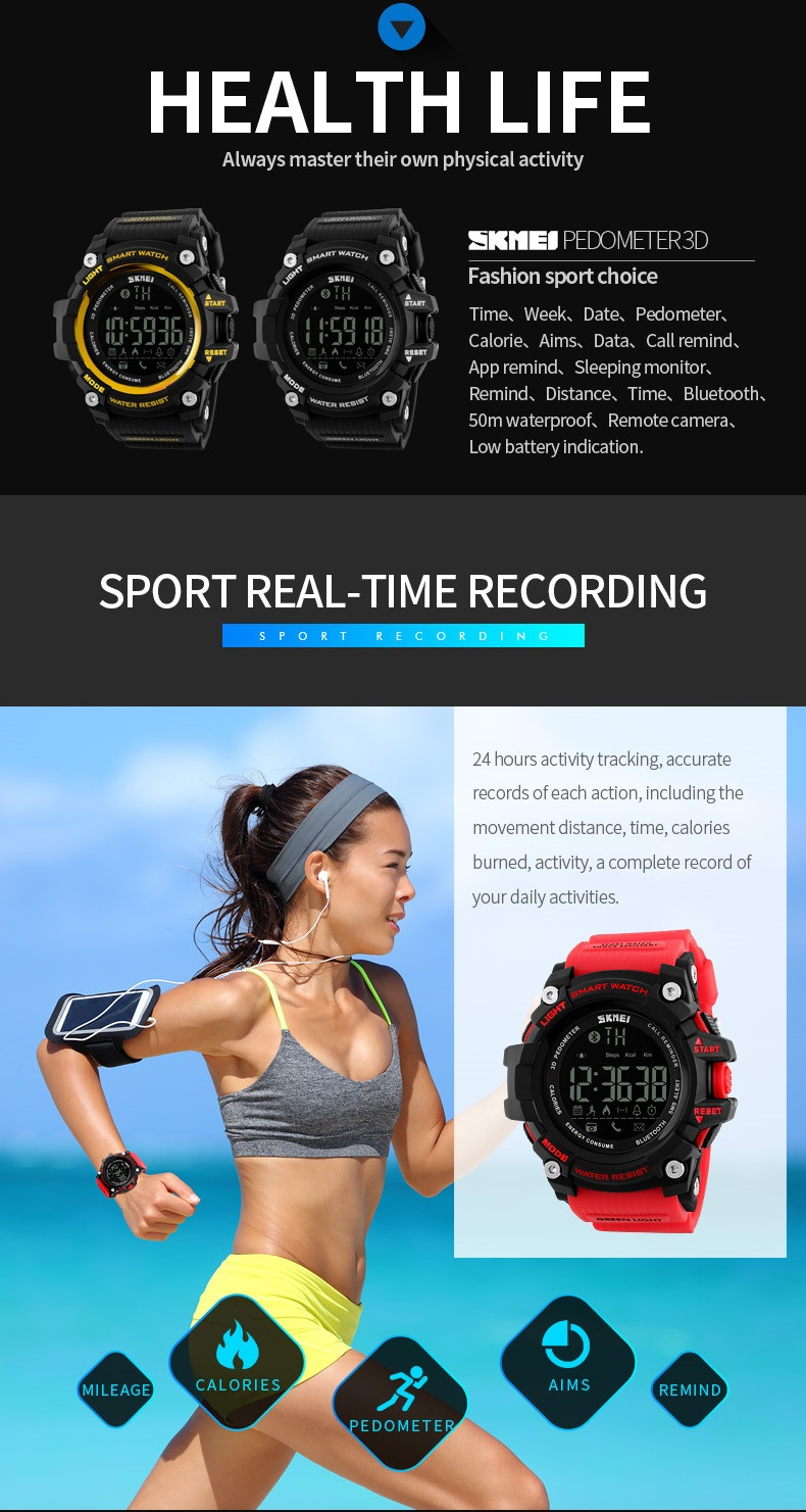 SKMEI Men Smart Watch Pedometer Calories Counter Fashion Digital watch Chronograph LED Display Watch Outdoor Sports Watches