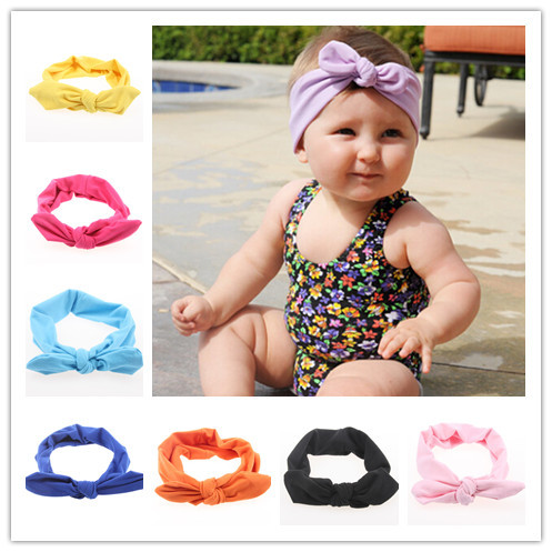 New Baby Girl Headwrap Top Knot Cotton Headband Fashion Ears Bow Hairband Baby Hair Accessories Hairware 12pcs/lot Free Shipping