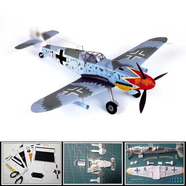 Best selling Paper Model airplane German Fighter Bf 109 G 1:24 scale Length:376mm,Width:413 mm,Height:108m 3d puzzles papercraft(China (Mainland))