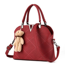 Fashion Lovely Plush Bear Decoration Tote Bags PU Leather Plaid Handbags V Word Shell Thread Women Shoulder Messenger Bags