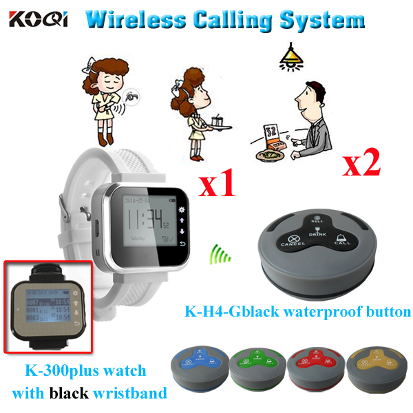 Service Buzzer Pager System Wholesale Price Alibaba Electronic Manufacture Popular In Restaurant( 1pcs watch + 2pcs buzzer bell)(China (Mainland))