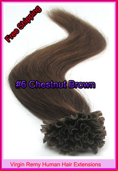 """Free Shipping 18"""" 20"""" 22"""" Keratin Nail Tip Hair Virgin Remy Human Hair Extensions 0.5g/s 100s/pack Color #6 Chestnut Brown 50g"""