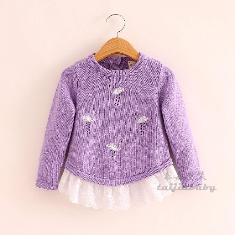 Fashion Girls Embroidered Bird Knit Sweaters Kids  Girl Fall Crochet Cartoon Pullover 2015 Baby Girl Ruffle Cute Tops<br><br>Aliexpress