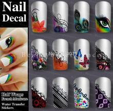 Hot Sale Decoration Nail Art Decals Half  Wraps French Manicure Water Transfer Stickers  22 Kinds Of Styles
