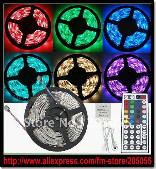 5M 5050 RGB SMD Non-waterproof Flexible LED Strip 150 Led  30 leds/Meter + 44 key IR remote Controller (12V DC Common anode)