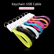 Keychain USB Cables for Lightning Mobile Phone Micro USB Cable Data Sync Charging Line For iPhone 5s se 6s plus Samsung s6