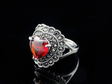 Wagner accessories retro classic heart shaped Ruby Diamond Ring Silver Alloy imitation female factory wholesale