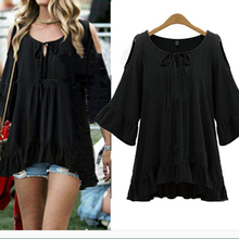 Women Girls Lady Summer Boho Style Hollow Shoulder Butterfly Sleeve Flounce Flare Blouse Loose Casual Crew Neck Bow Shirts Tops