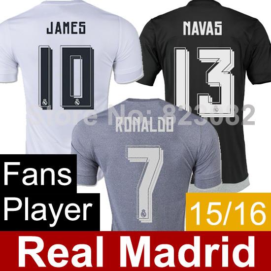 Camiseta Real Madrid 2016 Soccer Jerseys White RONALDO JAMES KROOS ISCO Jerseys Survetement Football Shirt Camiseta De Futbol(China (Mainland))