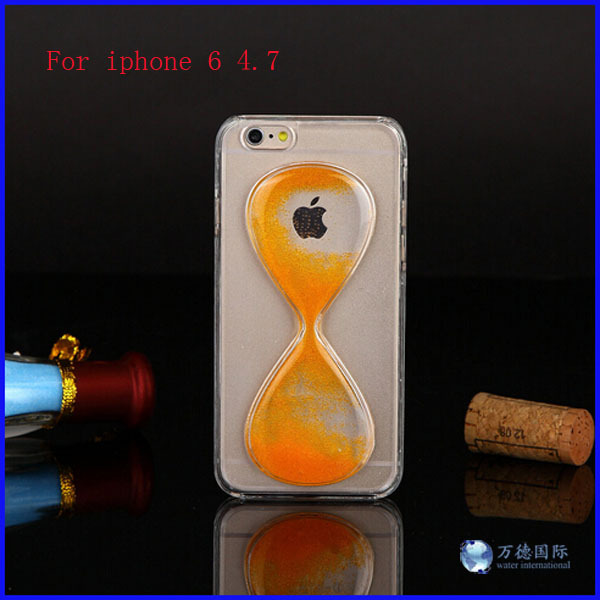 new cell phone case for iphone6 time quicksand funnel phone manufacturers transparent hourglass cover case for iPhone6 4.7 inch(China (Mainland))