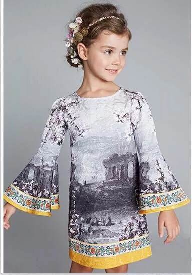 Free shipping 2016 Spring Girls Dress Clothes Brand Print ethnic long sleeve Holiday party clothes roupas bebe Toddler vestido(China (Mainland))
