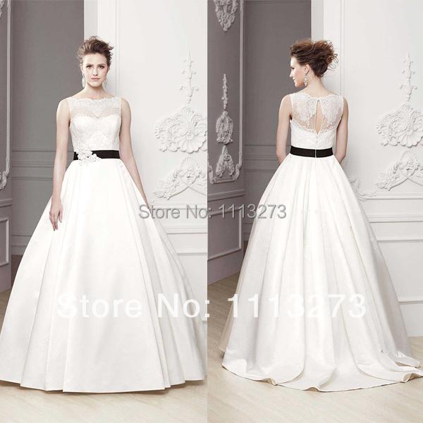 White wedding dresses with black design junoir for White wedding dress with black sash
