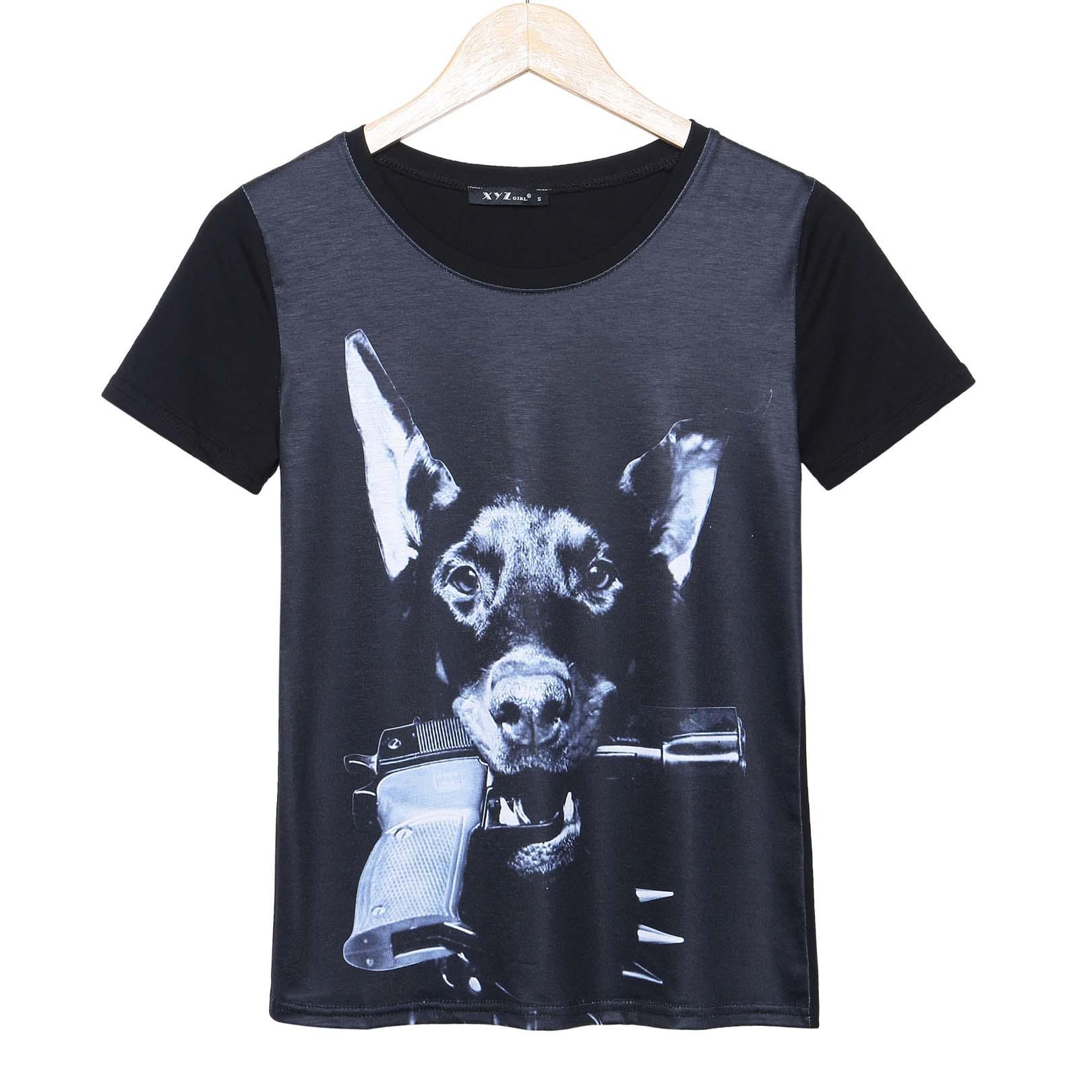 2015 casual fashion t shirt women gun dog printed t shirt for Where to get t shirts printed