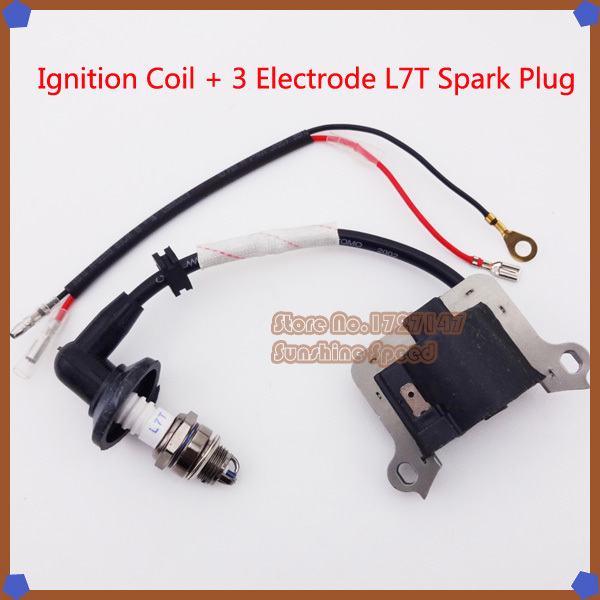 Ignition Coil 3 Electrode L7T Spark Plug For 33cc 43cc 49cc Scooter Super Mini Dirt Pocket Bike Go Kart Buggy(China (Mainland))