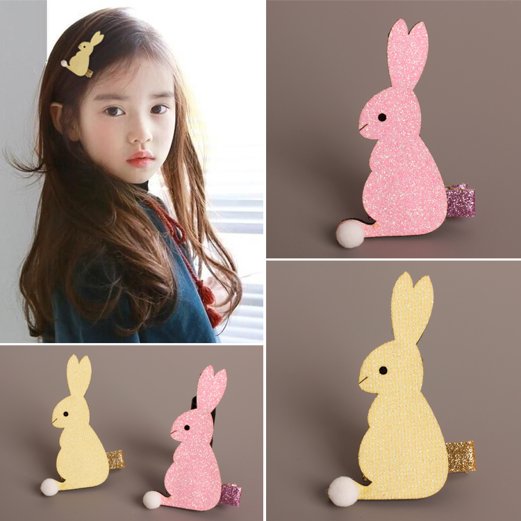 AHO308(20), Glitter Felt Pink/Yellow Cartoon Rabbit Hair Clip Easter Bunny Animal Barrette Hairpin Short Pom Pom Tail Hare(China (Mainland))