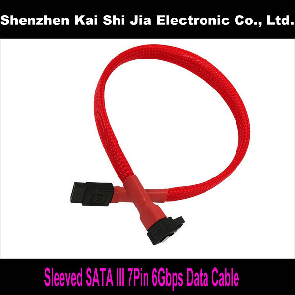 "18"" New Red Sleeved SATA III 6Gbps SATA3.0 7Pin Right Angle to Straight cable for Hard Drive Disk(China (Mainland))"