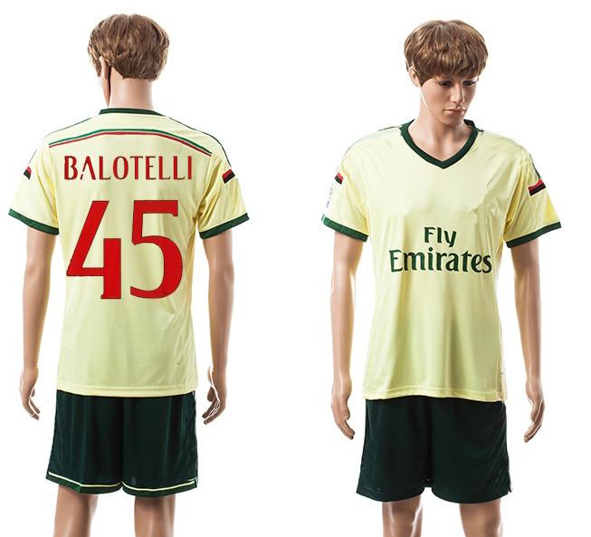 14-15 new second away yellow football set #45 BALOTELLI AC thai quality soccer jersey designer football kit men's tracksuit tops(China (Mainland))