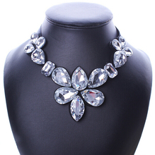 Brand New Fashion Necklace All Match Big Flowers Rhinestones Ribbon False Collar Necklace For Women