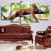 5 Panels Dark Red Leopard OnThe Tree Canvas Print Painting Artwork HD Wall Art Picture For Home Modern Decoration UnFramed(China (Mainland))