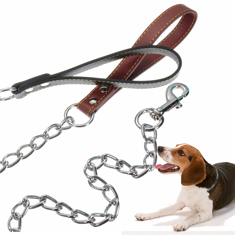 Portable And Durable Biteproof Heavy Duty Chain Dog Leash Pet Lead Handle and Trigger Hook 4mmx1.2m New(China (Mainland))