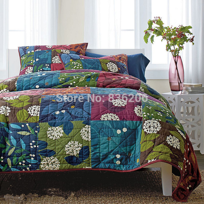 Country-Style-100-Cotton-Quilted-Blue-Bedspreads-Blankets ...