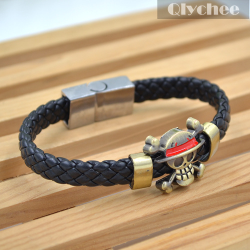 Hot Anime One Piece Luffy's Ship Flag Straw Hat Skeleton Logo Knit Leather Bracelet Cosplay Bangle Gift(China (Mainland))