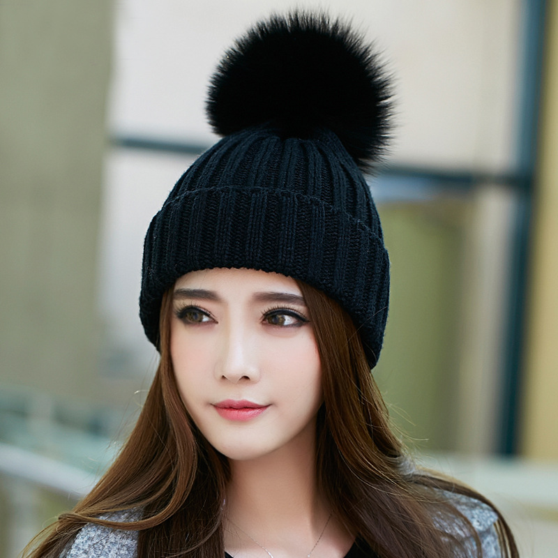 s knitted hats winter warm beanies pompom touca