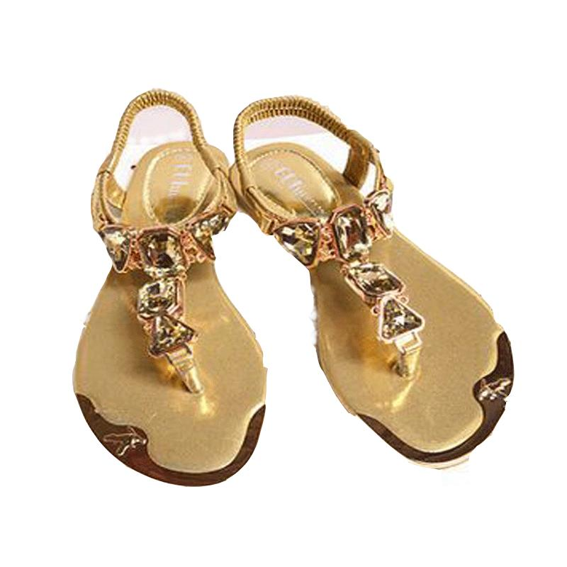 Large Size 35-42 2016 Latest Fashion Sandals  Summer Strappy Sandals Rhinestone  Low Flat Shoes Women  Metal Head 938-1<br><br>Aliexpress