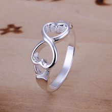 Factory Price 925 Sterling Silver 8 Shape Ring Endless Love Symbol Fine Fashion Double Heart Infinity Rings Jewelry for Women