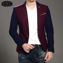 Brand New 2015 Fashion Wine Red Stylish Slim Fit Men s Casual Suit Jacket Male Formal