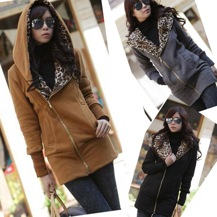 2014 Free shopping Casual Zipper Hoodie Sweatshirt Women's Long Sleeve Leopard Jacket Coat Warm Sweater W3913(China (Mainland))