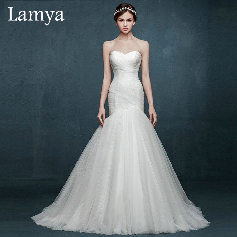 2016 Plus Size Simple Mermaid Wedding Dress Country Western Brand Style Wedding Dresses Lace Up Bridal Gown vestido de noiva(China (Mainland))