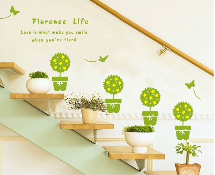 HOT!ZY7144 Pot Plant Flower bee Nature Lovely small garden Window Decal Bathroom wall Sticker Decoration DIY Living Room decor(China (Mainland))