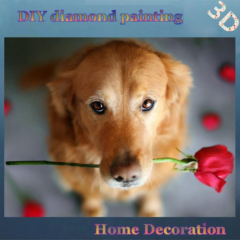 DIY Full diamond embroidery Dog and roses diamond embroidery puppies hobby crafts Wall Art diamond handcraft household products(China (Mainland))