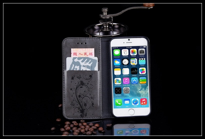 High Quality Leather Flip Wallet Case for Samsung Galaxy S5 S6 S7 edge iPhone 5s 6 6s PU Leather Floral Mobile Phone Bags Case